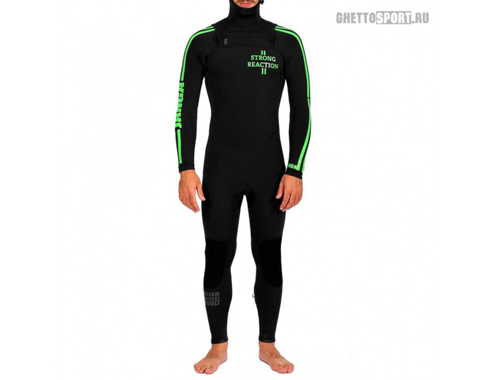 Гидрокостюм Janga 2018 Strong Reaction Fs Hooded 4x4 All Blk/Logo F.Green M