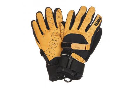 Перчатки с защитой Bern 2022 Men's Rawhide Leather Gloves w/ Removeable Wrist Guard Yellow Tan